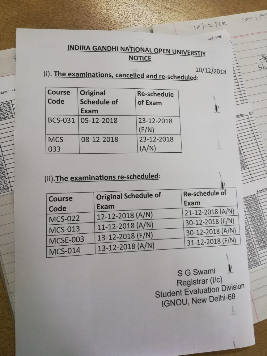 Ignou BCA exams 2018 cancelled and  postponed.New dates